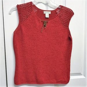 Worthington Knit Top Size XL Red With Brown Beads